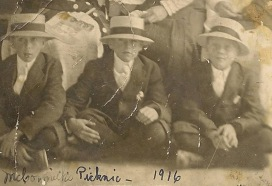 George, Jack and Bill Cartwright, McCormick's picnic, 1916