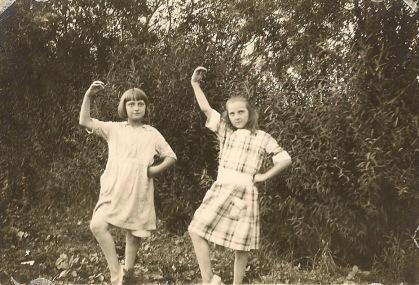 Doris, left, with Emily Morely, circa 1920