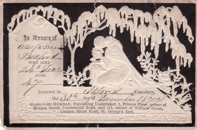 Chapter 7 - Memorial card for Martha Bedford;s mother, 1877