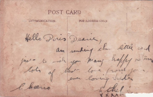 Chapter 15 - Reverse of post card from Ethel