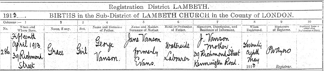 Grace Vanson birth record